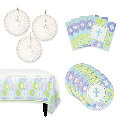 Baptism Decorations | A Complete Set of Baptism Party Supplies | Includes The Catholic Christening Decorations You Need: Baptism Napkins, Paper Plates, Table Cloth and Hanging Decoration (Blue, Boys)