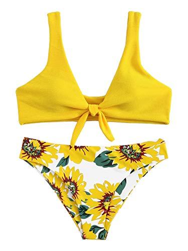 SweatyRocks Women's Bikini Tie Knot Front Swimsuit High Waist Swimwear Set