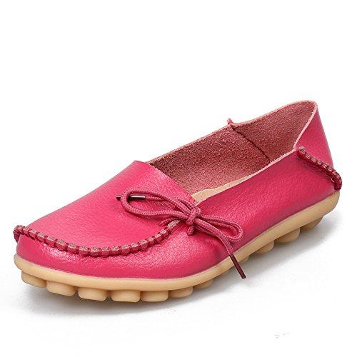 ZHRUI Scarpe basse da donna di grandi dimensioni. Morbida pelle comoda da infermiera pigro scivolata su mocassini (Colore : Rosso, Dimensione : EU 42) Rose Red