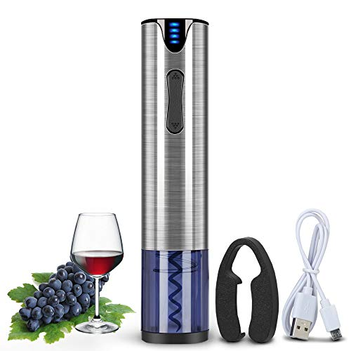 Electric Wine Opener Rechargeable Automatic Corkscrew Wine Bottle Opener with Foil Cutter & USB Charging Cable Stainless Steel