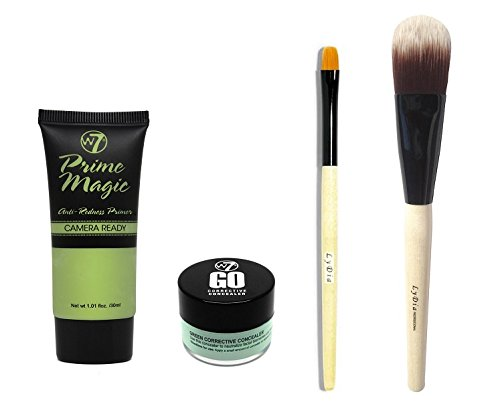Redness skin solution pack: W7 Prime Magic Anti-Redness Camera Ready Makeup Base Primer + W7 Hide 'N' Seek - Anti-Redness Concealer Quad + LyDia® Professional Eco-Friendly Natural Wooden Handle Yellow Hair Concealer Detailer Brush + LyDia® Professional Eco