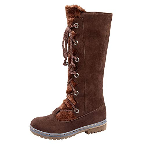 JESPER Women Suede Strappy Mid-Calf Snow Boots Round Toe Flat Long Shoelaces Boots Brown