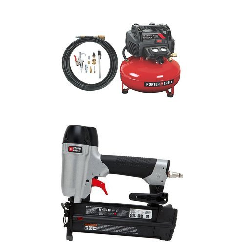 PORTER-CABLE C2002-WK Oil-Free UMC Pancake Compressor with 13-Piece Accessory Kit with 2-Inch 18GA Brad Nailer Kit