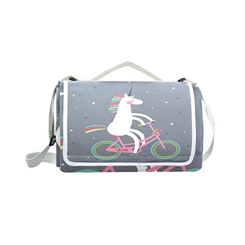 imobaby Ethnic Cute Unicorn On A Bicycle Rainbow Outdoor Picnic Blanket Mat, Extra Large Foldable and Waterproof Family Camping Mat for Outdoor Beach Hiking Grass Travel,T54 by imobaby