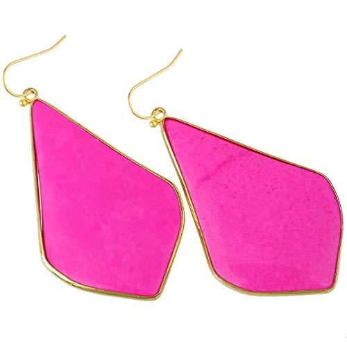 TUMBEELLUWA Crystal Quartz Stone Dangle Hook Earrings Rhombus Shape Gold Plated,Hot Pink Howlite -
