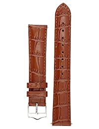 Signature Tropico watch band. Replacement watch strap. Genuine leather. Silver Buckle (18 mm, Brown)