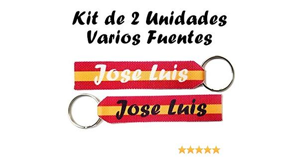 Llavero Personalizado Bandera España con Nombre Kit de 2 Unidades: Amazon.es: Hogar