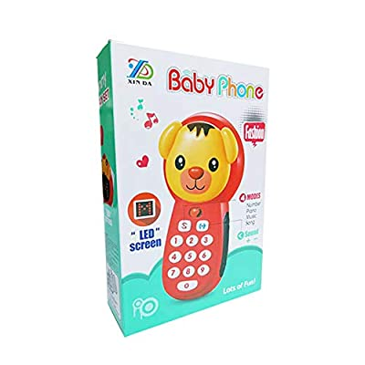 Ánimo Phone Toy Musical Cell Phone Play Set 4 Modes Functional Baby Toy Number and Sound Cognition Toy with LED Screen Early Learning Educational Gift for Age 3+ Kids Color Red: Toys & Games