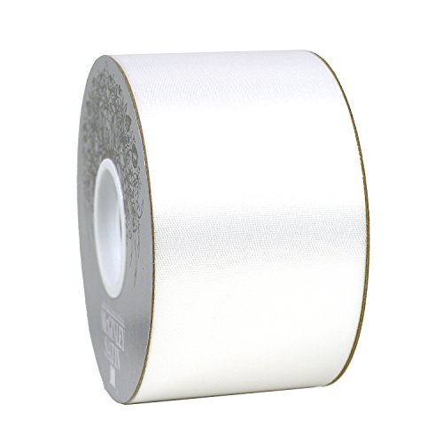 2.5'' x 50 yds Acetate Satin Ribbon-white by McGinley Satin