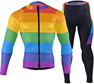XUWU Oklahoma State Flag Men's Cycling Jersey Long Sleeve Full Zip Bike Clothing Set Quick-Dry Padded Bicy