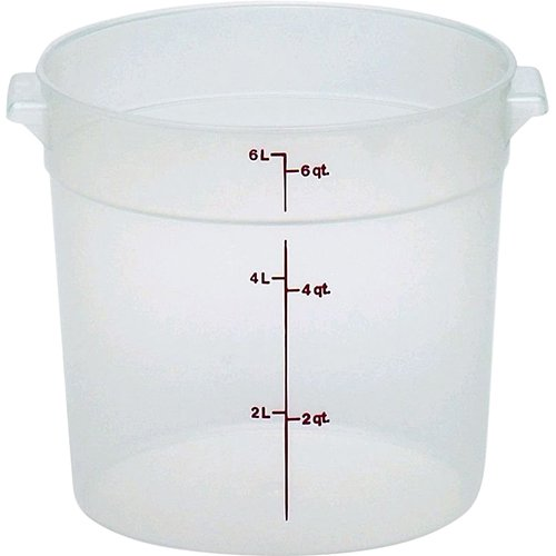 Cambro RFS6PP190 Camwear 6-Quart Round Food Storage Container, Polypropylene, Translucent, NSF