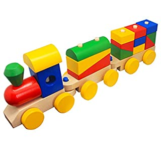 Wooden Train Toddler Toys, Shape Sorter and Stacking Wooden Blocks Puzzle Preschool Educational Toys for 2 3 4 Year Old Boys Girls