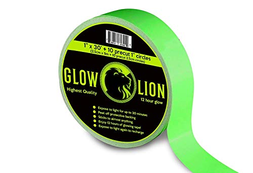 (Glow Lion Glow in the Dark Tape 30 Feet by 1 Inch Wide 12 Hour Photoluminescent Waterproof Adhesive)