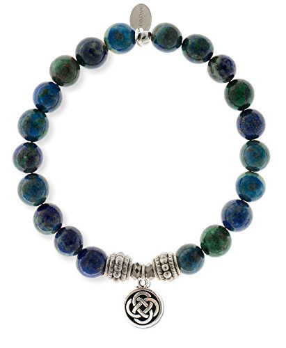 EvaDane Natural Semi Precious Malachite Gemstone Rope Bead Celtic Knot Charm Stretch Bracelet, Size ()
