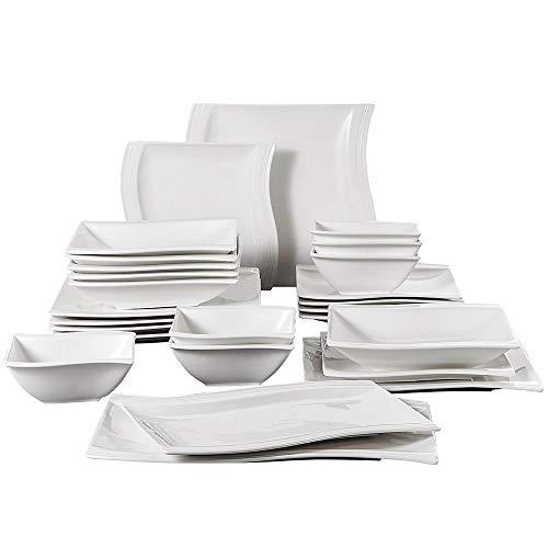 Malacasa, 26-Piece Porcelain Dinnerware Set Ivory White Chin