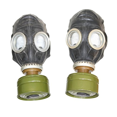 Set of two original soviet russian USSR gas masks GP-5 in black both masks...
