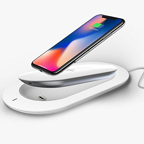 MIPOW Wireless Charger Power Bank, 5000mAh External Battery Support Qi Charging Pack with Built in Micro Cable and Lightning Adapter for iPhone X, iPhone 8, Samsung Galaxy S8/Note 8