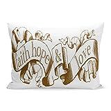 Abakoyi Throw Pillow Cover Christian Brown Corinthians 13 Faith Hope Love Wedding Decorative Pillow Case Home Decor 20x30 Inches Pillowcase