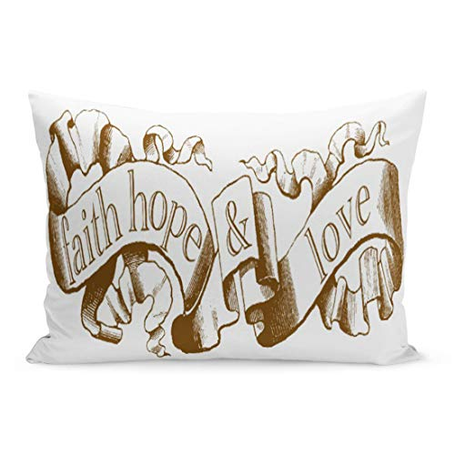 Abakoyi Throw Pillow Cover Christian Brown Corinthians 13 Faith Hope Love Wedding Decorative Pillow Case Home Decor 20x30 Inches Pillowcase by Abakoyi