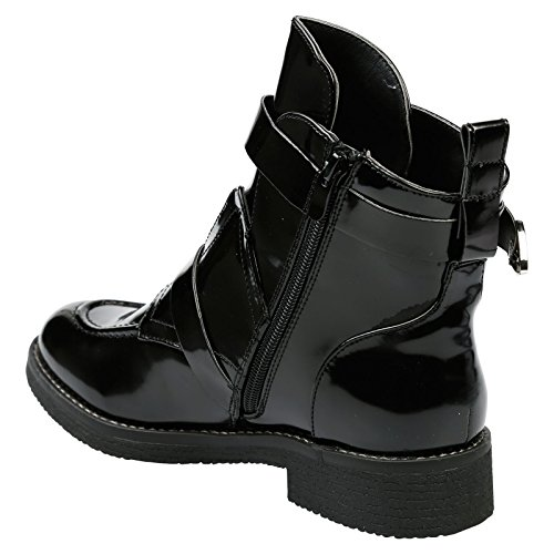 Black Chunky Low Biker Bernadette Womens Patent Stivaletti Piedi First Fashion Heel 4qnxaWwzPY