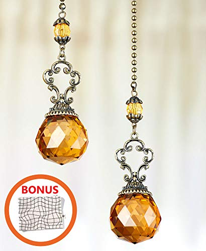 Sets of 2 Vintage Jeweled Fan Pulls - Decorative Crystal Pull Chains for Ceiling Fans and Lights Ornament - Amber by HM Homes (Image #4)