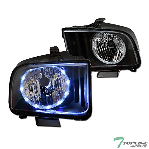 Topline Autopart Black Clear Housing Halo LED Headlights With NB For 05-09 Ford Mustang