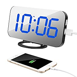 TISSA Alarm Clock with Dual USB Port and Charger, 6.5 Large Number Digital Alarm Clock Mirror Led Table Clock with Adjustable Brightness, Big SNOOZE for Bedroom Living Room Decor