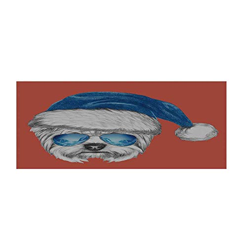 Yorkie Beautiful Floor Sticker,Terrier with a Blue Santa Hat and Mirror Aviator Glasses Fun Hand Drawn Animal Decorative for Indoor Floor,47.2
