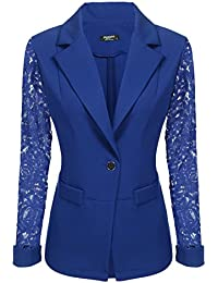 Women's Lace Sleeve One Button Closure Open Front Jacket Blazer