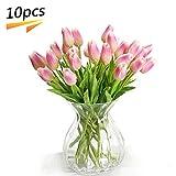PU Stunning Artificial Tulips Silk Flowers Arrangement Bouquet Home Room Office Wedding Party Decor (Deep Pink)
