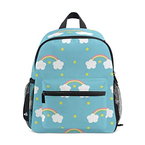 Kids Backpack, Cute Rainbow Stars Printing School Book Bags for Children Girls Boys Unisex Blue