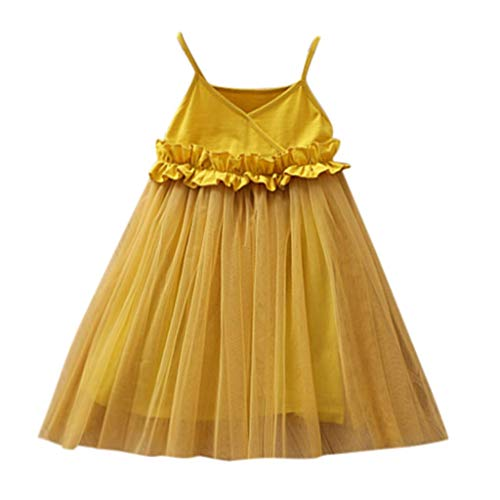 VEFSU Toddler Kids Baby Girls Mesh Dress Party Gown Pageant Princess Party Tulle Tutu Dress Skirt Yellow 4-5 Years