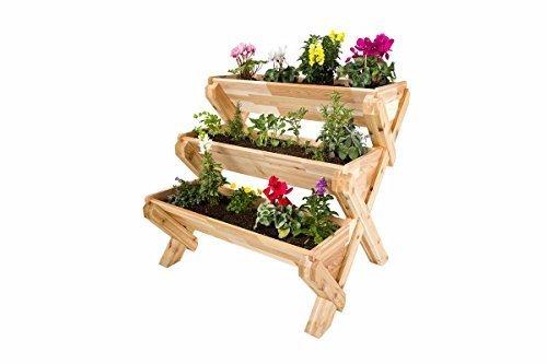 CedarCraft Cascading Garden Planter - 3 Tier Vertical Garden - Grow Fresh Vegetables, Herb Gardens, Flowers & Succulents. Beautiful Raised Garden Bed for a Deck, Patio or Yard. No Tools Required. by CedarCraft