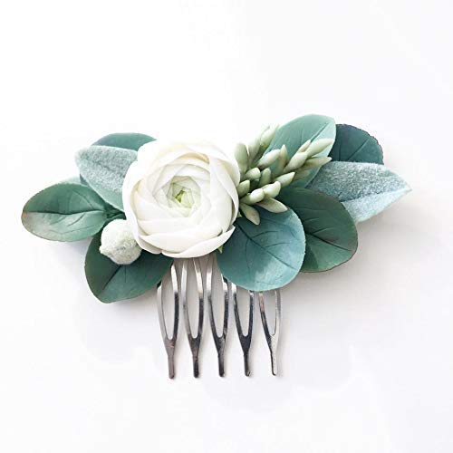 Eucalyptus hair comb ivory green hair piece greeenery hair comb succulent hair comb green leaves head piece ivory flower hair piece bridal