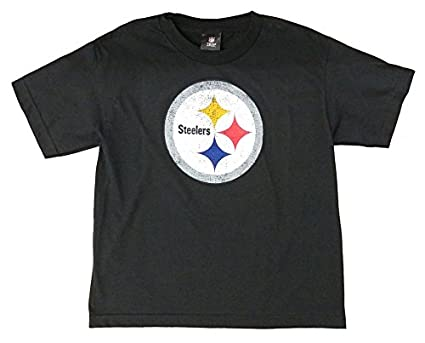Amazon.com   Pittsburgh Steelers NFL Youth Distressed Logo Black T ... 69bd08168