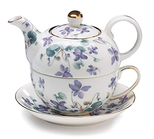 - Teapot Tea For One Duo Teapot And Teacup Lavender Violets 15 Oz Total