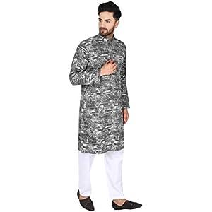 SKAVIJ Men's Cotton Kurta Pajama Set Evening Eid Dress