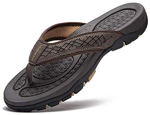 Brown Rubber Thong - GUBARUN Flip Flops for Men,Leather Mens Sandals- Comfortable Sandal Arch Support(Brown2, 7)