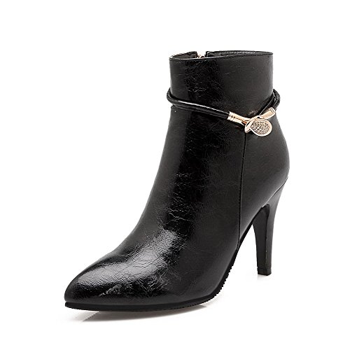 Women's Closed Pointed Toe Low-Top High-Heels Solid PU Boots