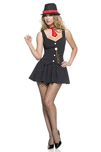 Mystery House Women's Steampunk Gangster, Black/White/Red, Large