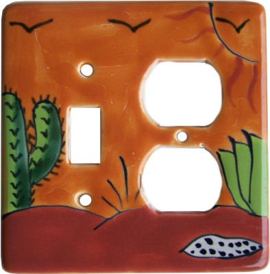 Desert Talavera Toggle-Outlet Switch Plate by Fine Crafts & Imports
