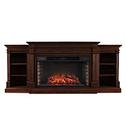 Southern Enterprises Rider Widescreen Electric Fireplace with Bookcase, Espresso Finish from Southern Enterprises