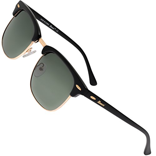 Rivacci Unisex' s Club master Gray Lens Medium 49mm Polarized Sunglasses, Gold/Black Frame/G15 - Eyewear Trending