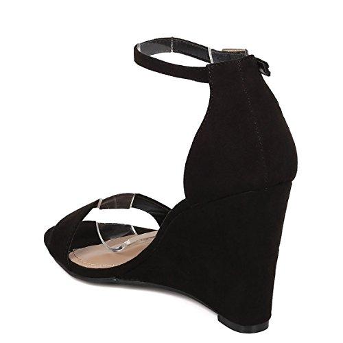 Breckelles Dames Open Teen Enkel Zool Gesp Enkelband Hoog Sleehak Pumps Sandaal Schoenen Zwart Su