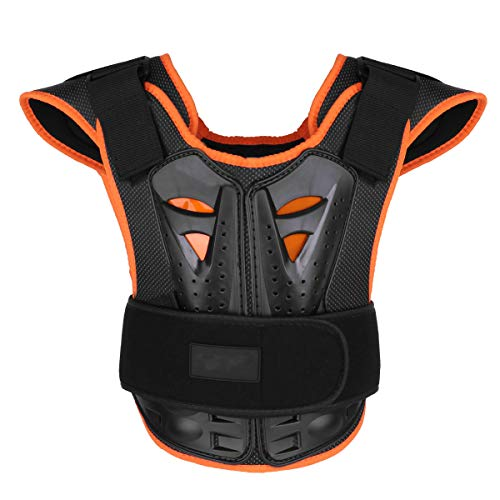 (CHICTRY Kids Children Armor Vest Dirt Bike Body Chest Spine Reflective Protective Gear for Bicycle Motorcycle Cycling Skiing Riding Skateboarding Black L)