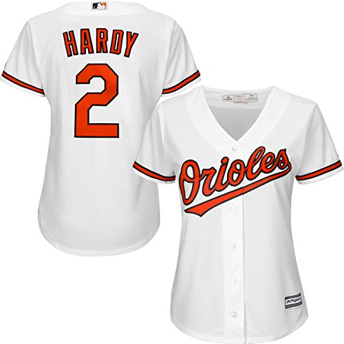 Majestic JJ Hardy Baltimore Orioles #2 Women's Home Jersey White - - Baltimore Orioles Series Player