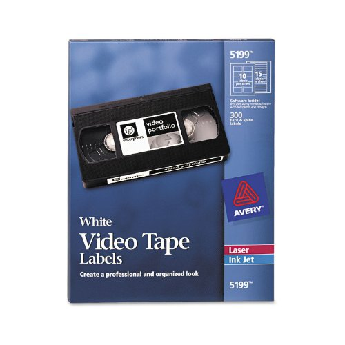 Avery Video Tape Printer Labels, 300 Each Face & Spine Labels/pack