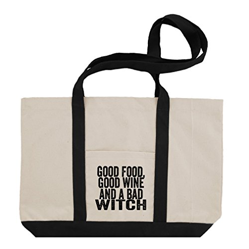 Good Food Good Wine & A Bad Witch Cotton Canvas Boat Tote Bag Tote - (Bad Witch)