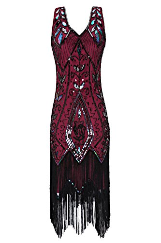 Metme Women's 1920s Vintage Flapper Fringe Beaded Great Gatsby Party Dress, Wine, Medium