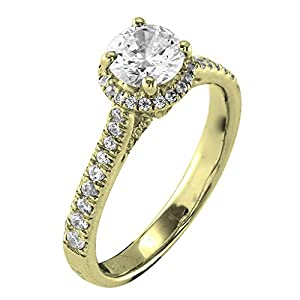 0.50 Ct. Natural White Diamond Engagement Ring In 14K Yellow Gold For Women
